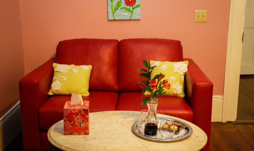 Les Fleurs Red Couch