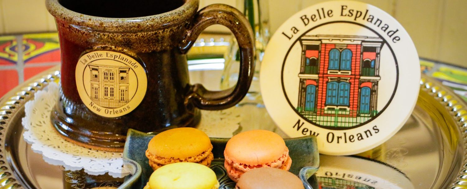 La Belle Esplanade Coffee Mug and Macarons