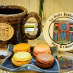 La Belle Esplanade Coffee Mug and macarons