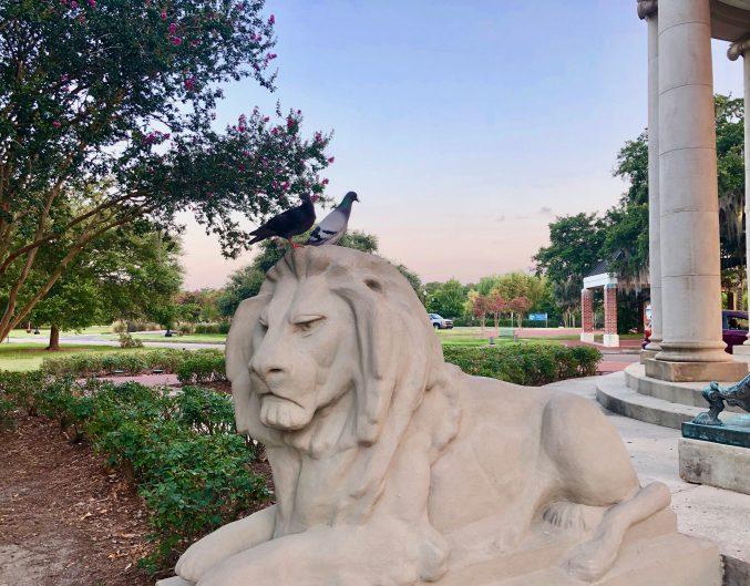 Lion statue in City Park, New Orleans