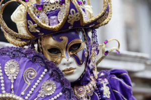 Woman wearing a full Venetian Carnival Costume
